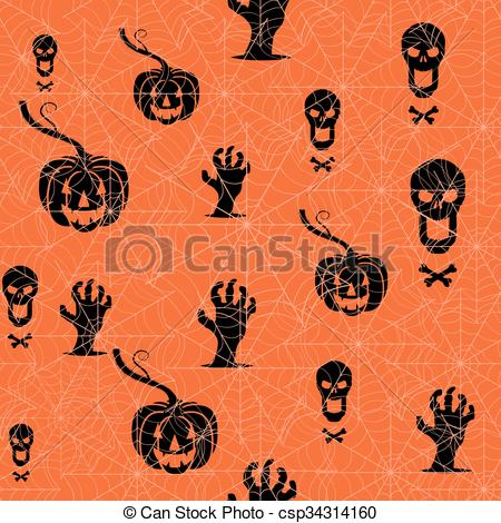 Clip Art Vector of Seamless Halloween background. Pumpkin, skull.