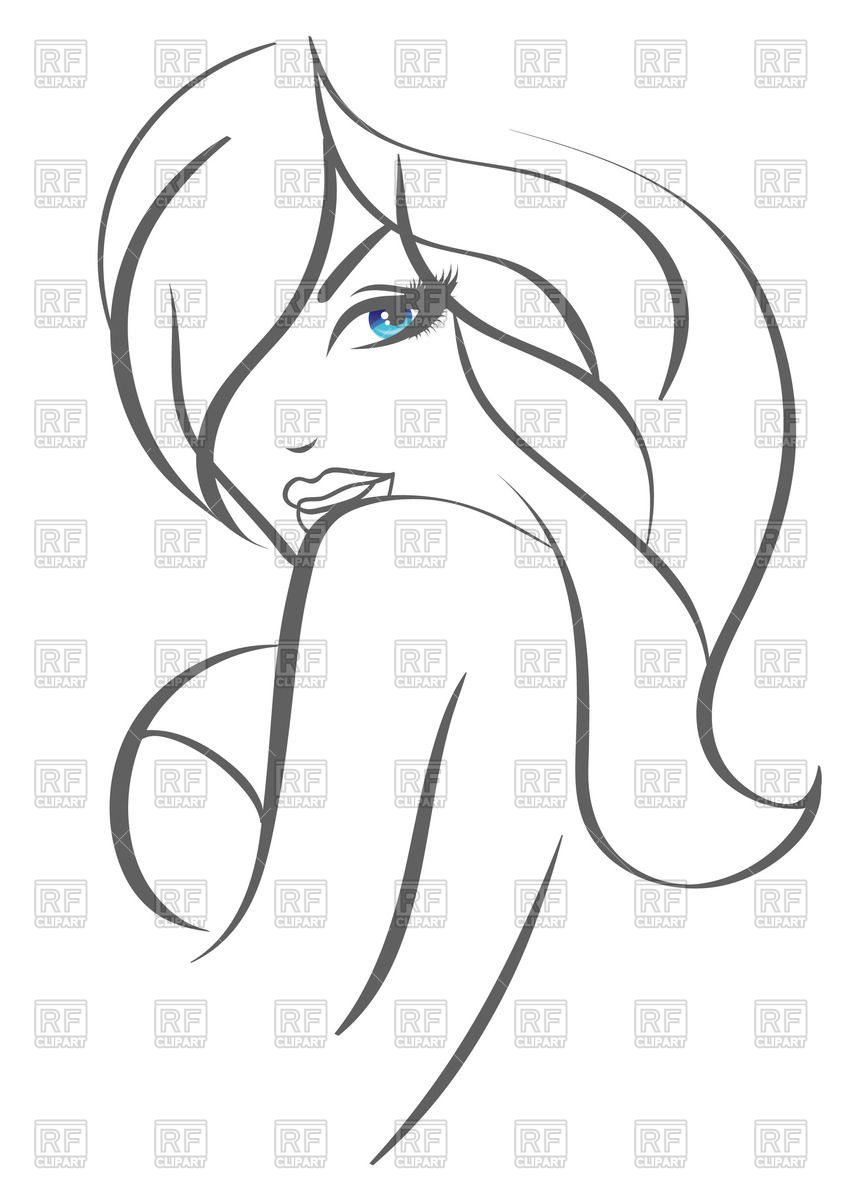 Contour of portrait of beautiful woman with blue eyes Vector Image.