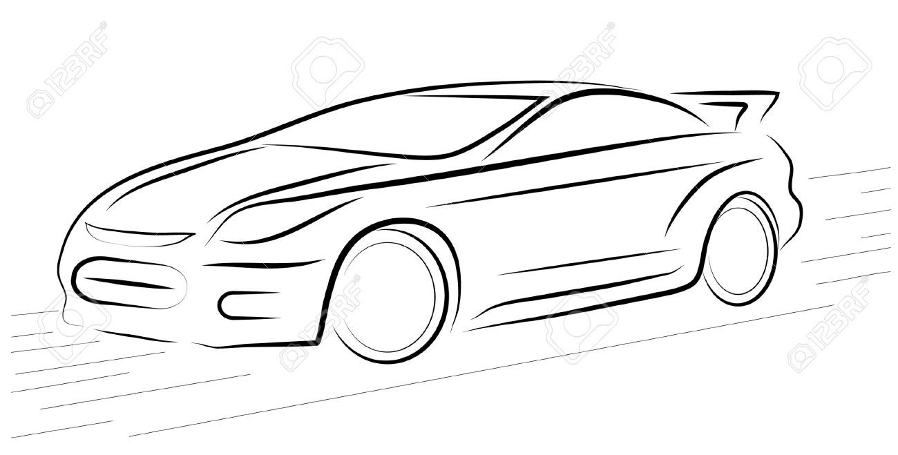 Pictures Show The Contour Of A Sports Car Royalty Free Cliparts.
