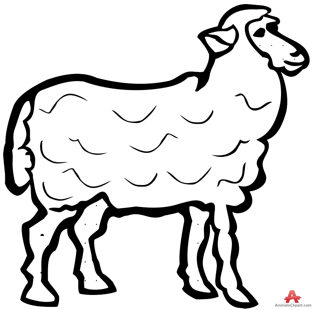 Sheep Outline Contour Drawing in Black and White.