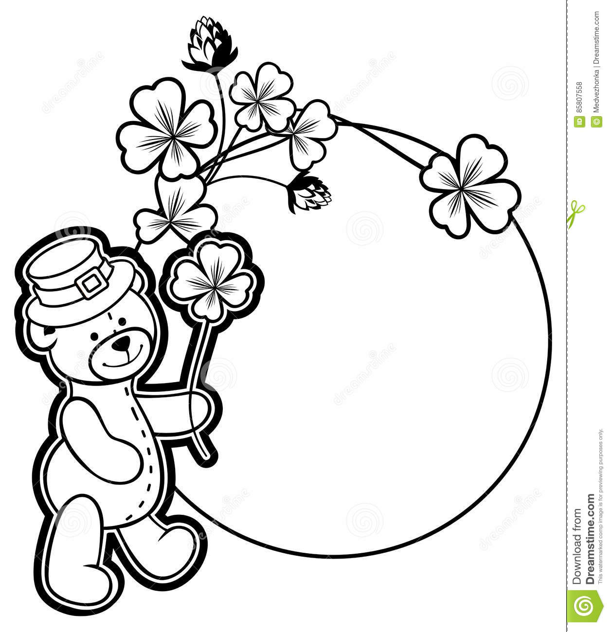 Outline Round Frame With Shamrock Contour And Teddy Bear. Raster.
