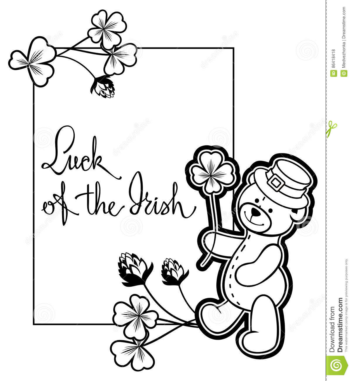 Outline Frame With Shamrock Contour And Teddy Bear. Raster Clip.