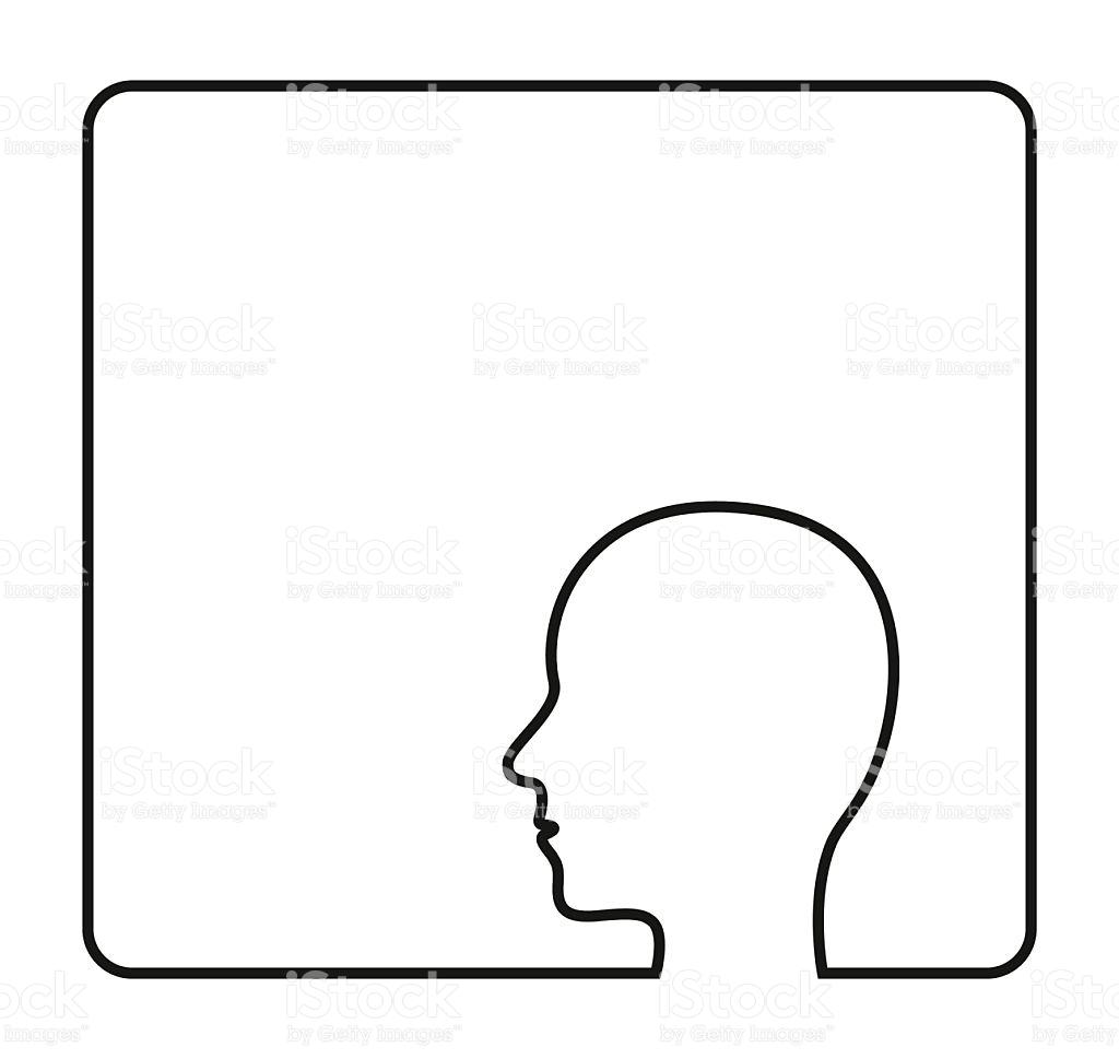 Human Head Contour Outline Frame Icon stock vector art 472807098.