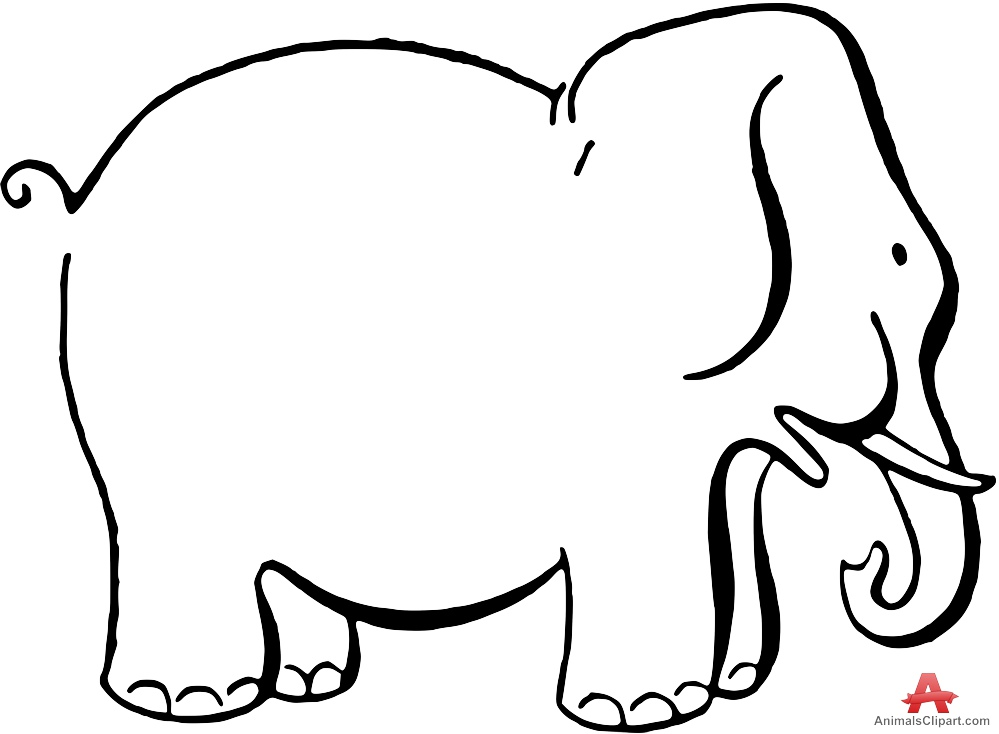 Outline Contour Drawing of Elephant.
