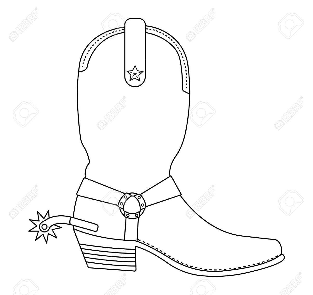 Wild West Cowboy Boot With Spur And Star. Contour Lines Vector.