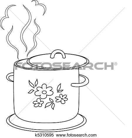 Clipart of Boiling pan with pattern, contours k5310595.