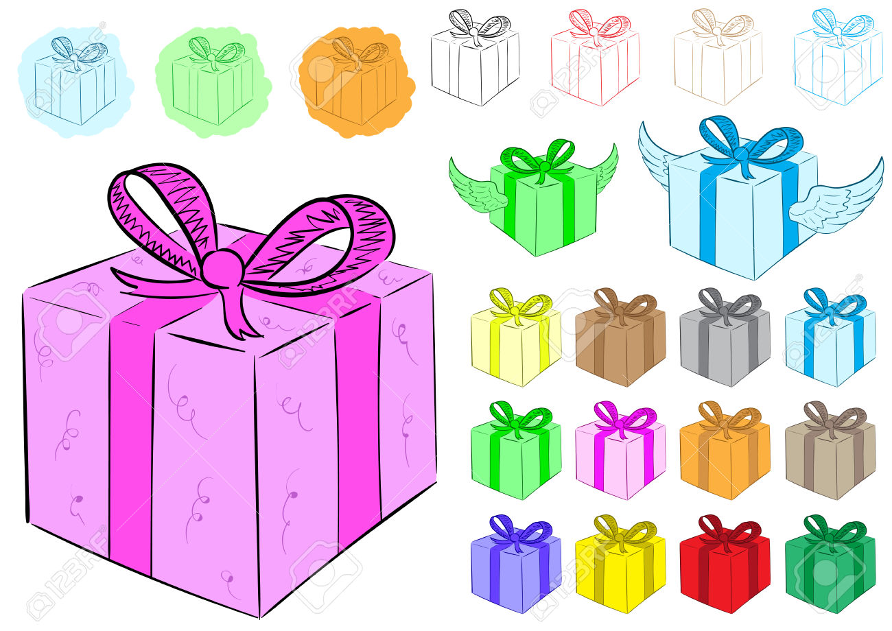 Clipart With Color Winged Gift Boxes And Contours Royalty Free.