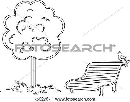 Clipart of Bird, park bench, tree, contours k5327671.