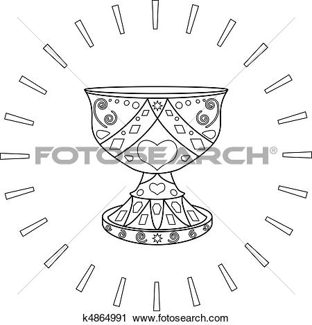 Clipart of Holy Grail and the sun, contours k4864991.