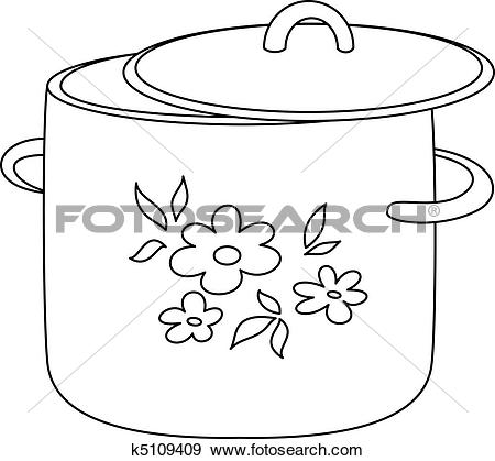 Clip Art of Pan with pattern, contours k5109409.