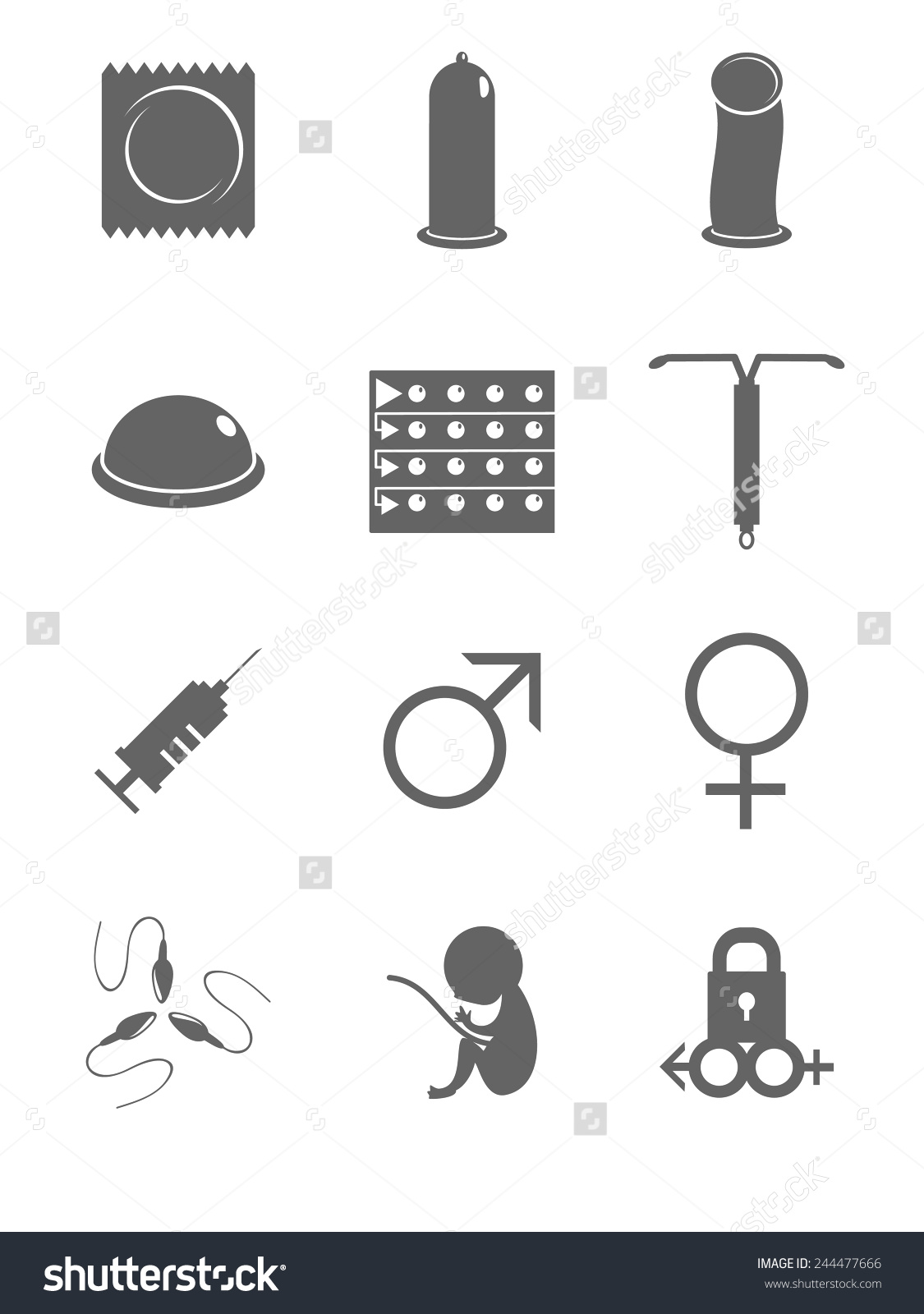 Contraceptives Man Woman Sex Icons Vector Stock Vector 244477666.