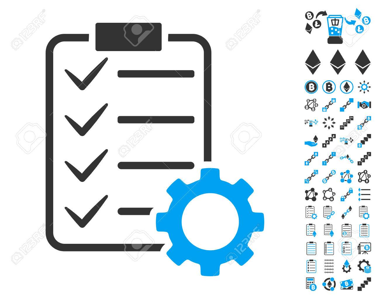 Smart Contract Gear icon with bonus smart contract clip art.