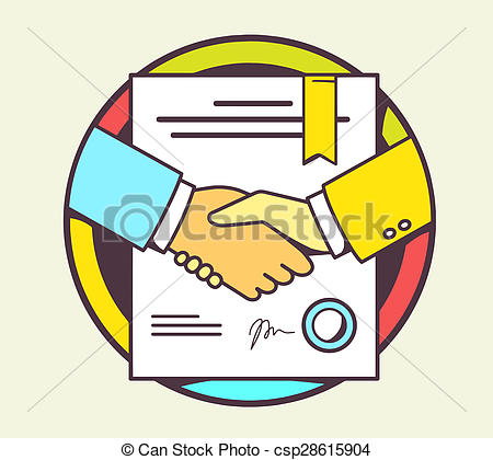 Stock Illustration of color illustration of handshake with.