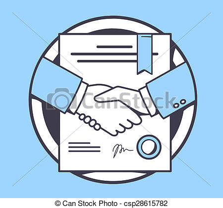 Stock Illustration of illustration of handshake with contract.
