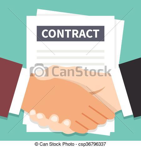 Vectors of Businessmen handshake and contract flat illustration.