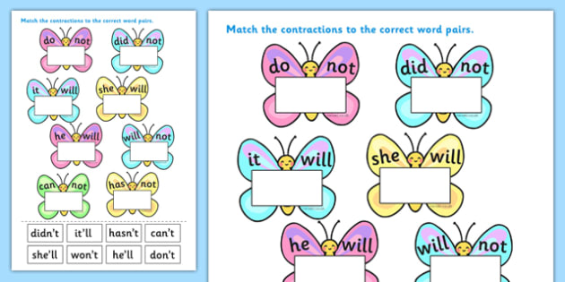 Contractions Butterfly Worksheet / Worksheets.