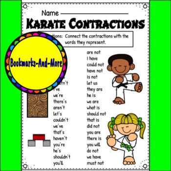 Karate Contractions Worksheet.