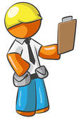 Clipart of Orange Man Contractor k2778011.
