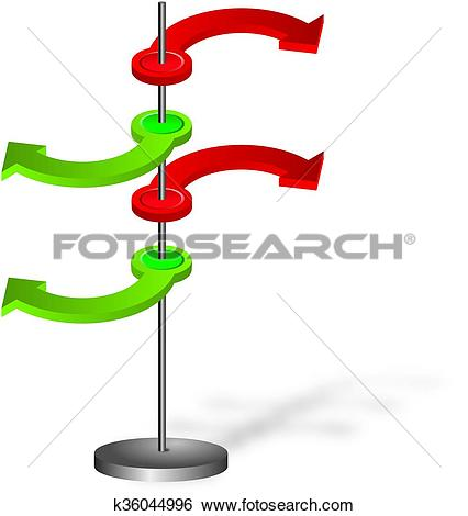 Stock Illustration of Contradictory green and red spatial arrows.