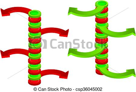 Stock Illustration of Contradictory green and red spatial vertical.