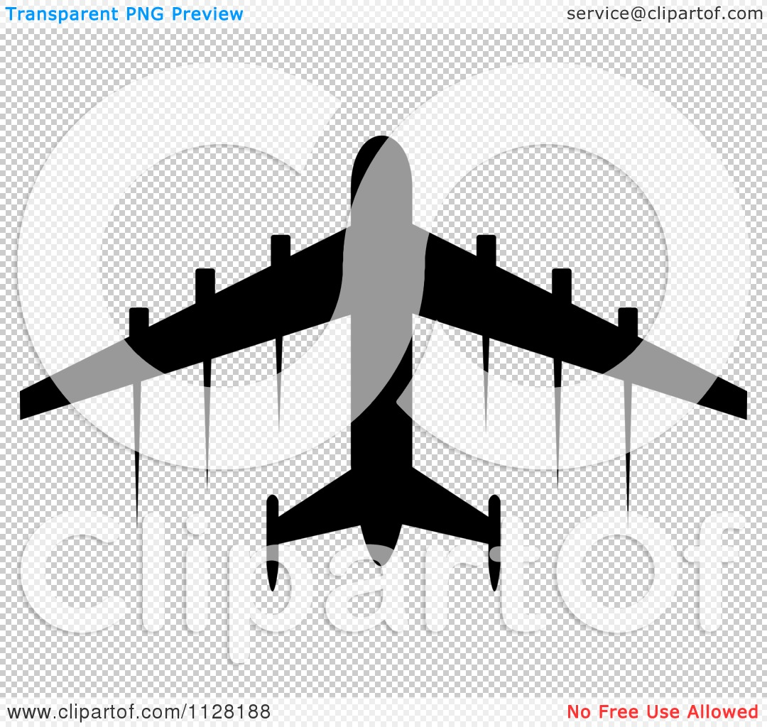 Clipart Of A Black Silhouetted Airplane And Contrails 3.