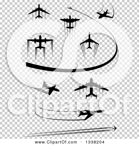 Clipart of Black Silhouetted Airplanes and Contrails 2.