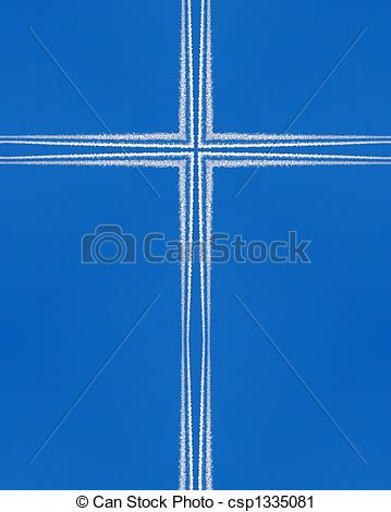 Clipart of kaleidoscope cross: jet contrails against blue sky.