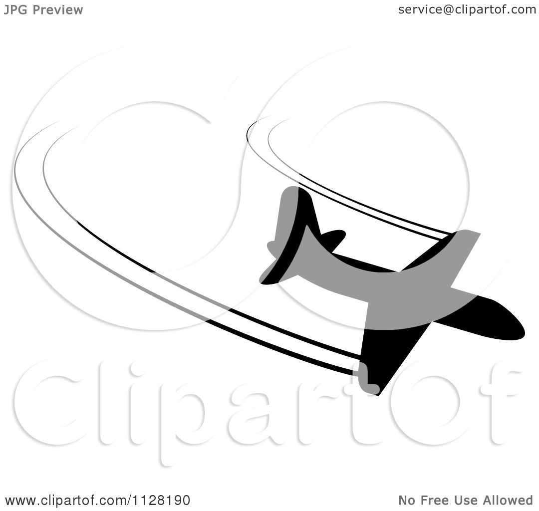 Clipart Of A Black Silhouetted Airplane And Contrails 6.