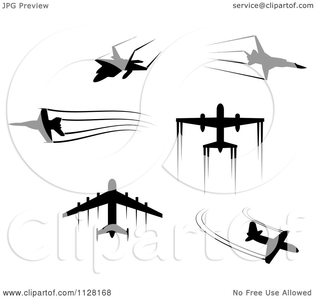 Clipart Of Black Silhouetted Airplanes And Contrails.
