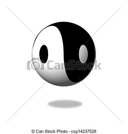 Clip Art of Yin Yang Day Night opposite or contrary forces.