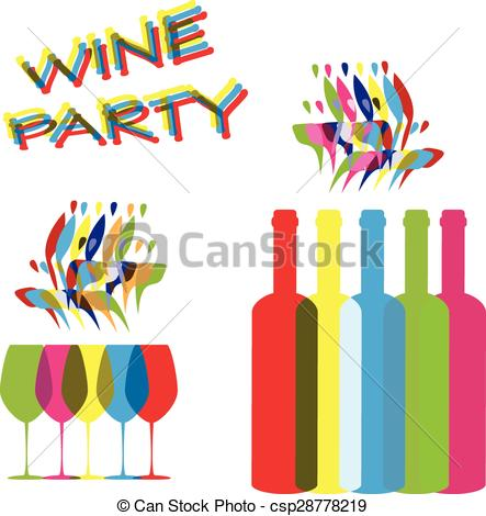 Vector Clip Art of vector concept elements for wine party in.