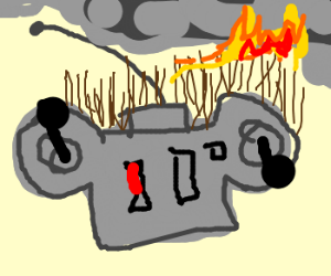 Remote control with burning hair (drawing by absurdbird).