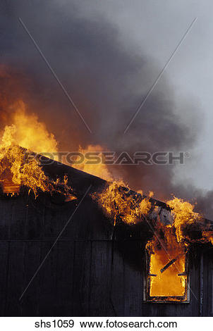 Stock Photograph of House fire burning out of control. shs1059.
