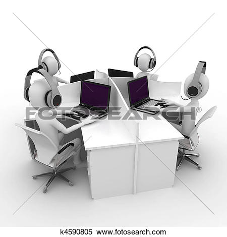 Stock Illustration of Employees working in a call center k6564407.