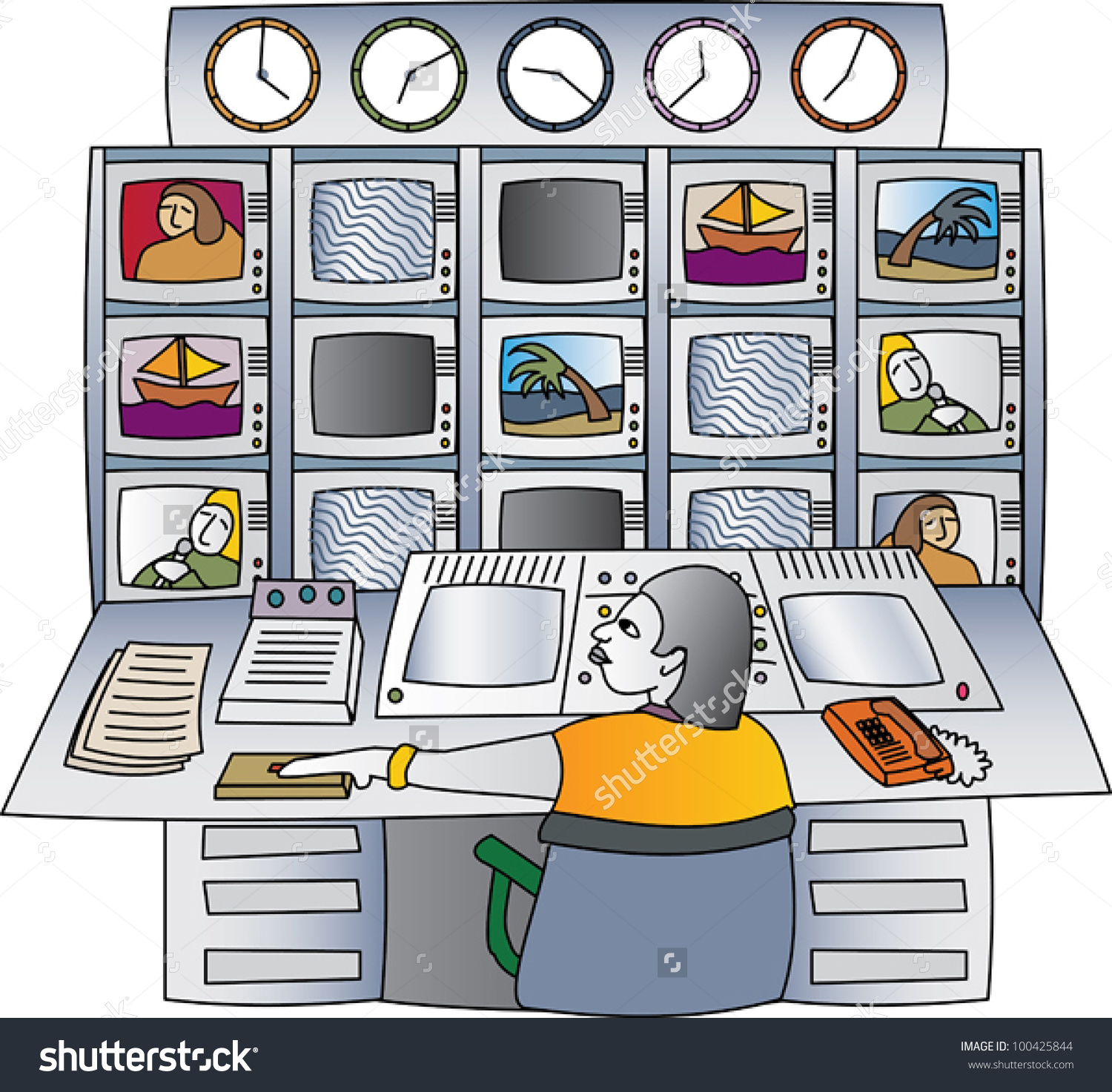 Woman Television Producer Control Room Monitors Stock Vector.