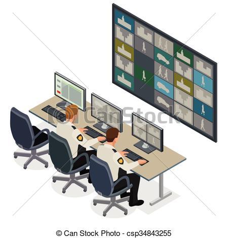 Cctv control room Vector Clipart Illustrations. 27 Cctv control.