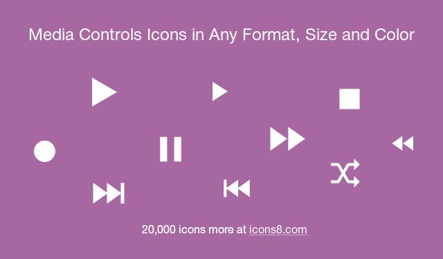Media Controls Icons.