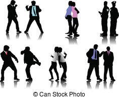 Clip Art Vector of Business people silhouettes csp2417756.
