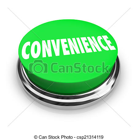 Stock Photography of Convenience Word Green Round Buton Fast Easy.