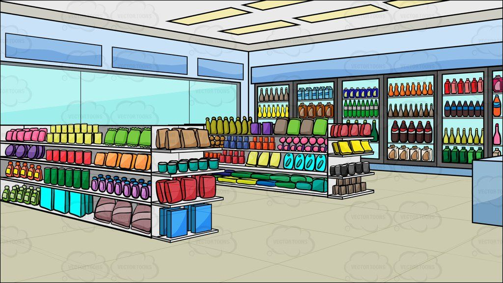 Inside A Convenience Store Background Cartoon Clipart.