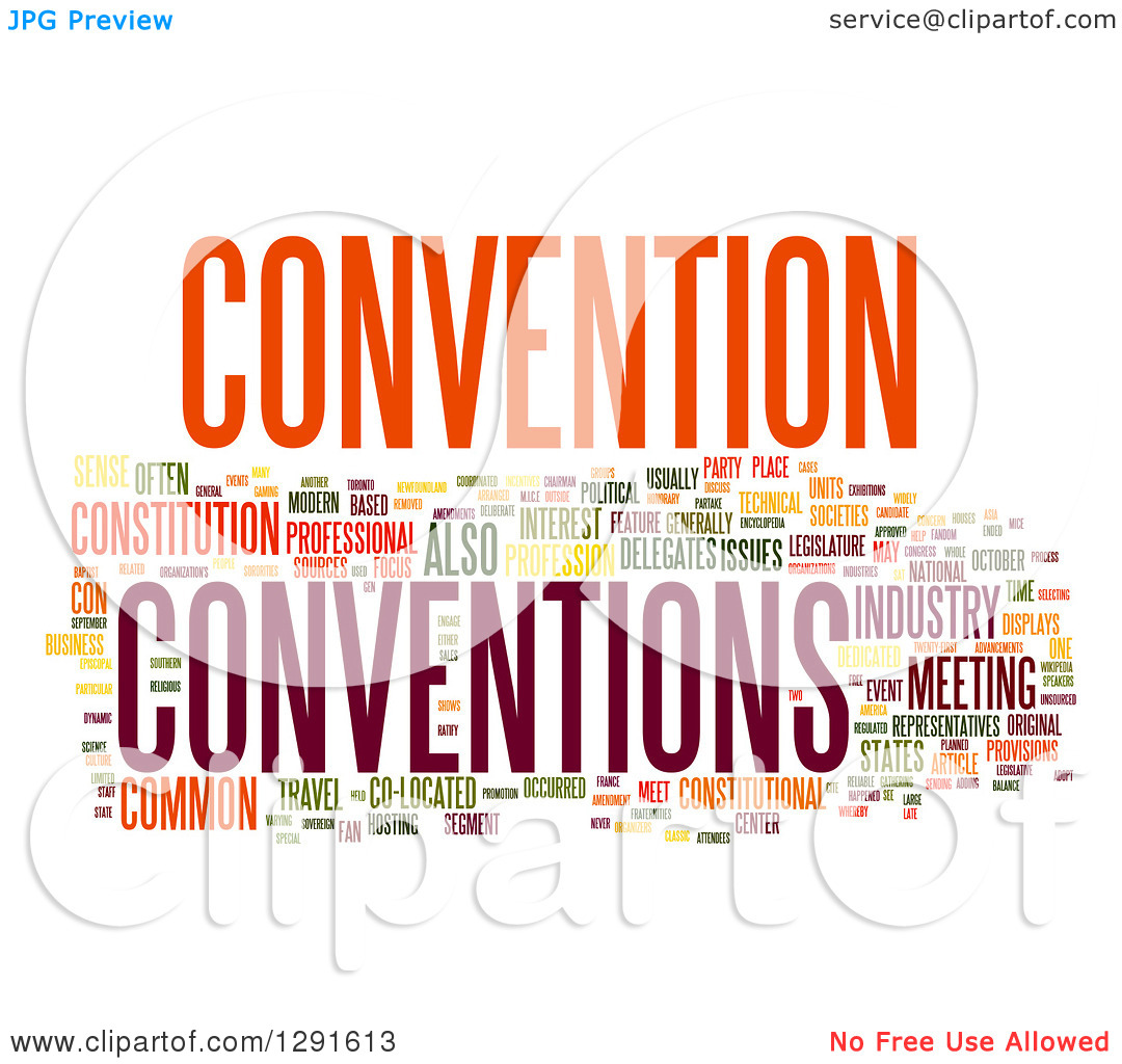 Clipart of a Colorful CONVENTION Tag Word Collage on White.