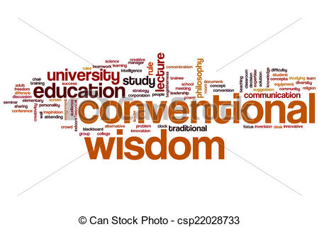 Drawings of Conventional wisdomword cloud.