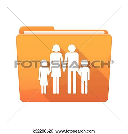 Clipart of Long shadow binder with a conventional family pictogram.
