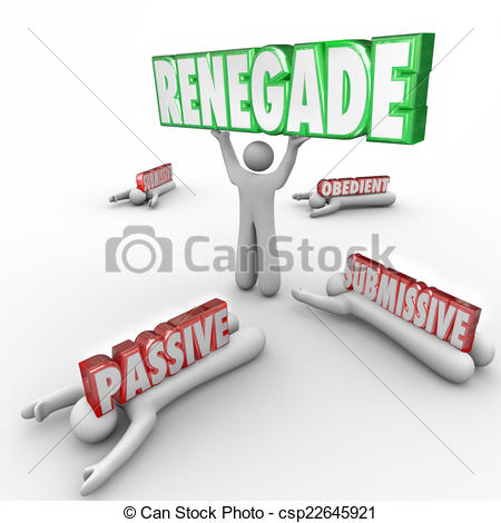 Clip Art of Renegade Word Lifted by Person Defying Conventional.