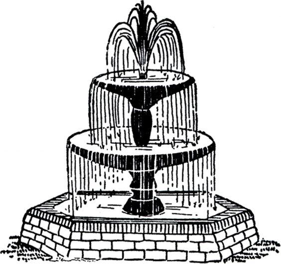 Free Vintage Fountain Clip Art.
