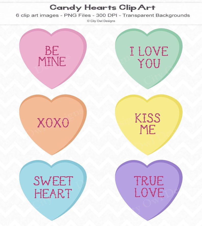 Candy Hearts Clip Art, Digital Scrapbooking, Instant Download, Valentines,  Cute, Pastel, Conversation Hearts, Personal and Commercial Use.