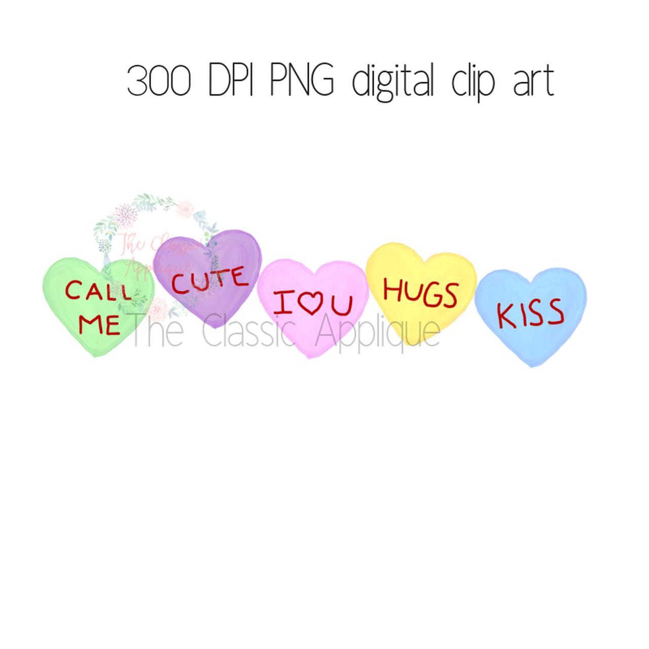 Conversation hearts watercolor PNG digital clip art file.