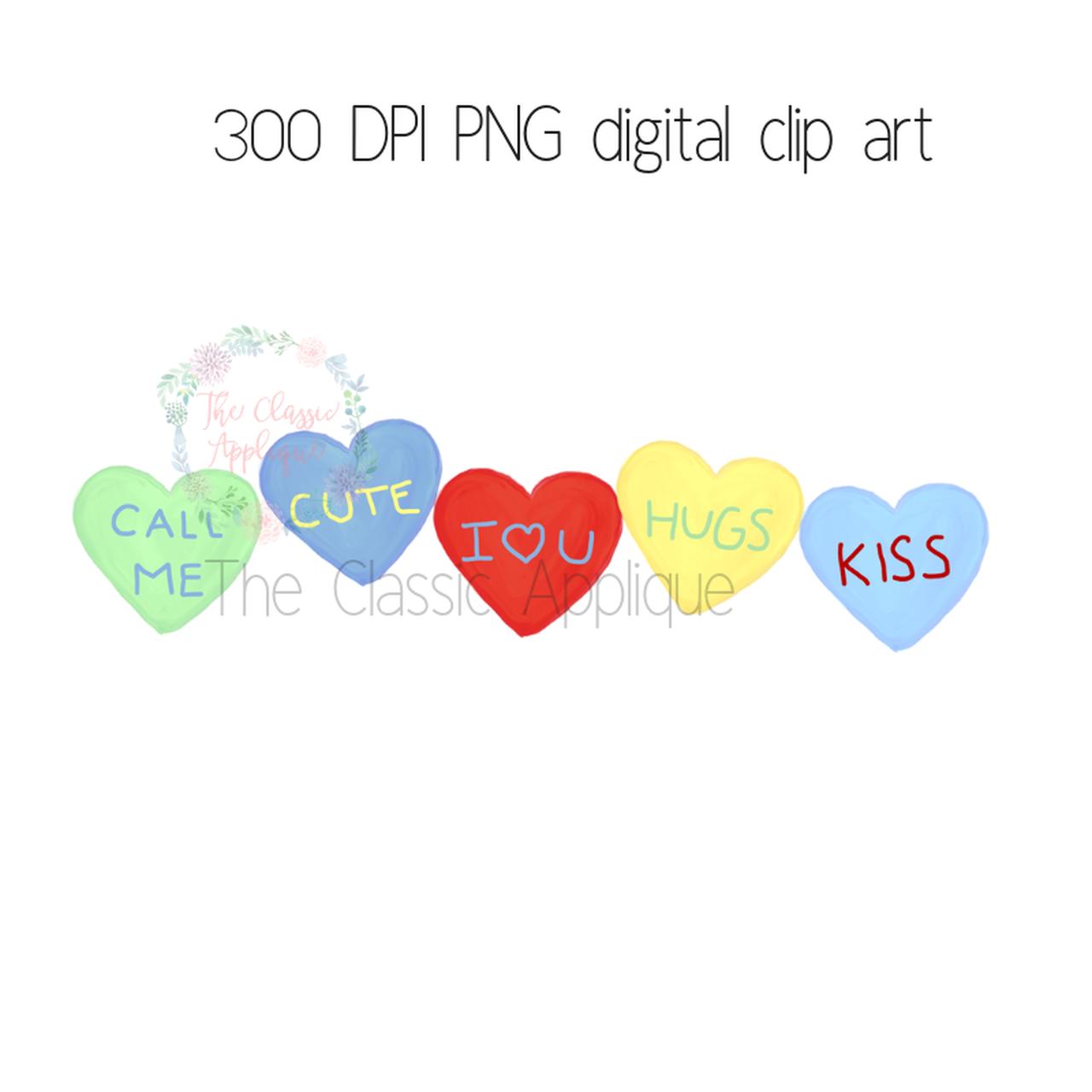 Conversation hearts in primary watercolor clip art file.