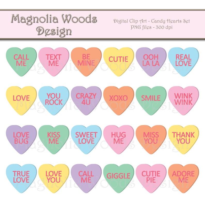 Candy Hearts Clip Art, Candy Heart Clip Art, Candy Hearts PNG, Digital  Candy Hearts, Valentine's Day Clip Art, Small Commercial Clip Art.
