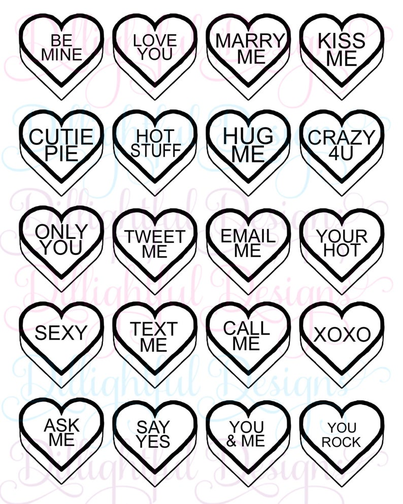 DOWNLOAD  Valentine's Conversation Hearts Decal Be My Valentine Kiss Me  Text Me Tweet Me.